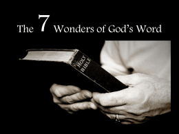 The 7 Wonders of God's Word