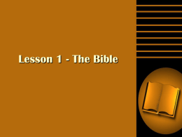 Lesson 1 - The Bible