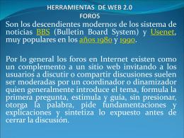 HERRAMIENTAS DE WEB 2.0 FOROS