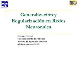 Generalizacion y regularizacion en ANN