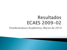 Resultados ECAES 2009-02
