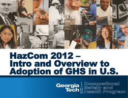 HazCom 2012 – Intro and Overview toAdoption of GHS in …