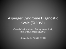 "Asperger Syndrome Diagnostic Scale (""ASDS"""