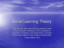 Social Learning Theory - Midwestern State University