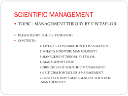 F W TAYLOR'S CONTIBUTION TOWARDS MANAGEMENT