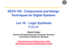 Lecture10 Synthesis - EECS Instructional Support Group