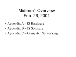 Midterm1 Overview Feb. 26, 2004