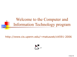 Welcome to the Computer and Information Technology …