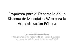 Propuesta para el Desarrollo de un Sistema de Metadatos