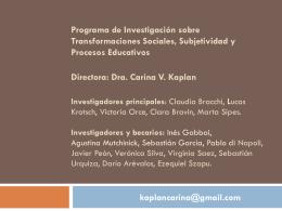 Carina V. Kaplan - Facultad de Ciencias Sociales UNLZ