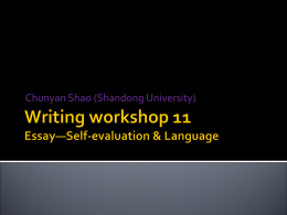 Writing workshop 11 Essay—Self
