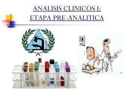 ANALISIS CLINICOS I: ETAPA PRE