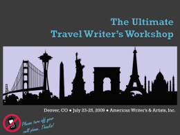 The Ultimate Travel Writer's Workshop