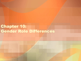 Chapter 10: Gender Role Differences