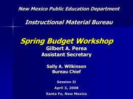 New Mexico Public Education Department Presentation …