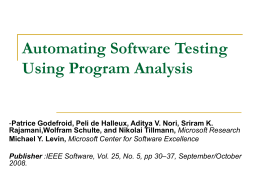 Automating Software Testing Using Program Analysis