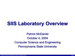 SIIS Laboratory Research