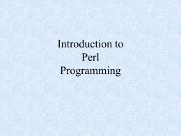 Introduction to Perl Programming
