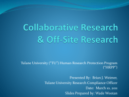 Collaborative Research & Off