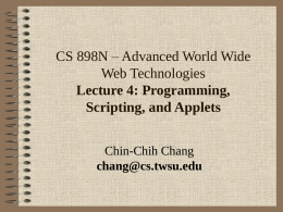 CS 898n - Lecture 4 - Wichita State University