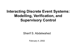 Interacting Discrete Event Systems: Modelling
