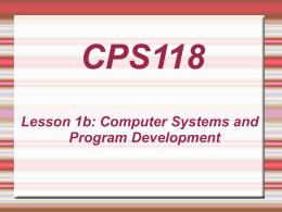 Lesson 1b: Computer Systems and Program Development
