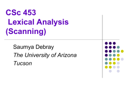 CSc 453 Lexical Analysis