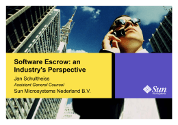 Software Escrow: an Industry's Perspective