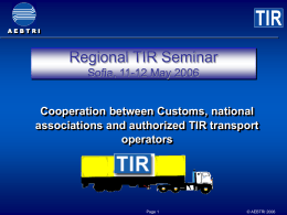 TIR Workshop