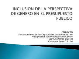 INCLUSION DE LA PERSPECTIVA DE GENERO EN EL …