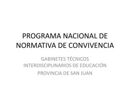 PROGRAMA NACIONAL DE NORMATIVA DE CONVIVENCIA
