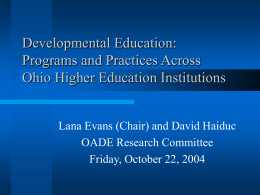 Developmental Education: Programs and Practices Across
