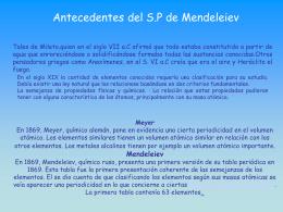 Antecedentes del S.P de Mendeleiev