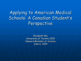 Applying To American Medical Schools : A Canadian …
