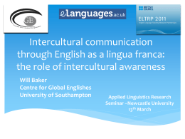 Intercultural communication through English as a lingua