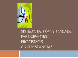 Sistema de transitividade: PARTICIPANTES PROCESSOS