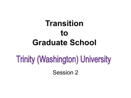 Transition to Graduate School