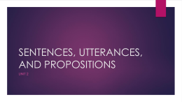 SENTENCES, UTTERANCES, AND PROPOSITIONS