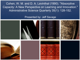 Cohen, W. M. and D. A. Levinthal (1990). 'Absorptive