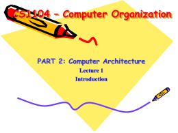 Part II Lecture 6:Processor: Datapath & Control