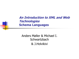 An Introduction to XML and Web Technologies Schema