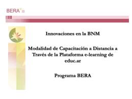 Innovaciones en la BNM