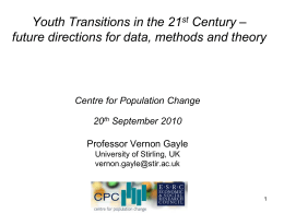 Youth Transitions – Future direction for data, methods and