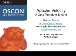 Apache Velocity A Java Templating Engine