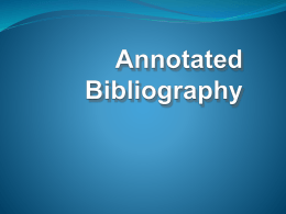 Annotated Bibliography - Nash Community College