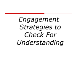 Engagement Strategies to Check for Understanding