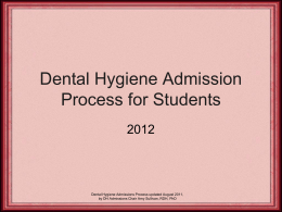 Dental Hygiene Admission Process