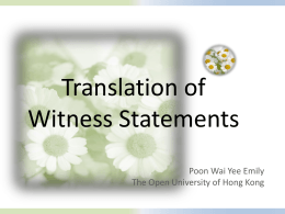 Translation of Witness Statements