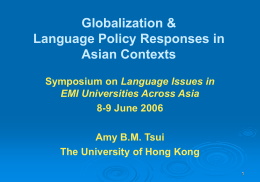 Language Policies in Asian Countries: Issues and Dilemmas