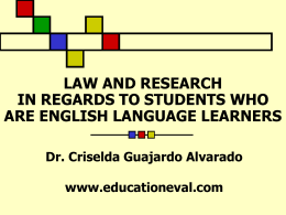 LAW AND RESEARCH IN REGARDS TO STUDENTS WHO …